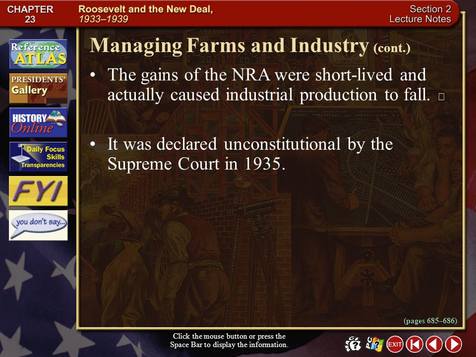 Section 2-18 The National Industrial Recovery Act (NIRA) suspended antitrust laws and allowed business, labor, and government to cooperate in setting