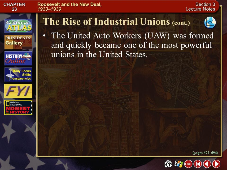 Section 3-18 After two union men were demoted at the General Motors auto-body plant in Cleveland, Ohio, workers protested with a sit-down strike where