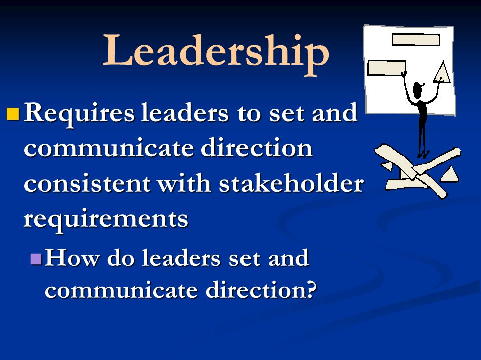 Leadership Requires leaders to set and communicate direction consistent with stakeholder requirements Requires leaders to set and communicate direction consistent with stakeholder requirements How do leaders set and communicate direction.