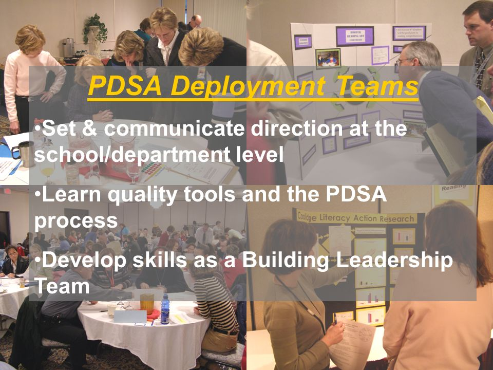 PDSA Deployment Teams Set & communicate direction at the school/department level Learn quality tools and the PDSA process Develop skills as a Building Leadership Team