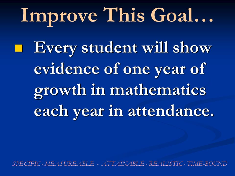 Improve This Goal… Every student will show evidence of one year of growth in mathematics each year in attendance.