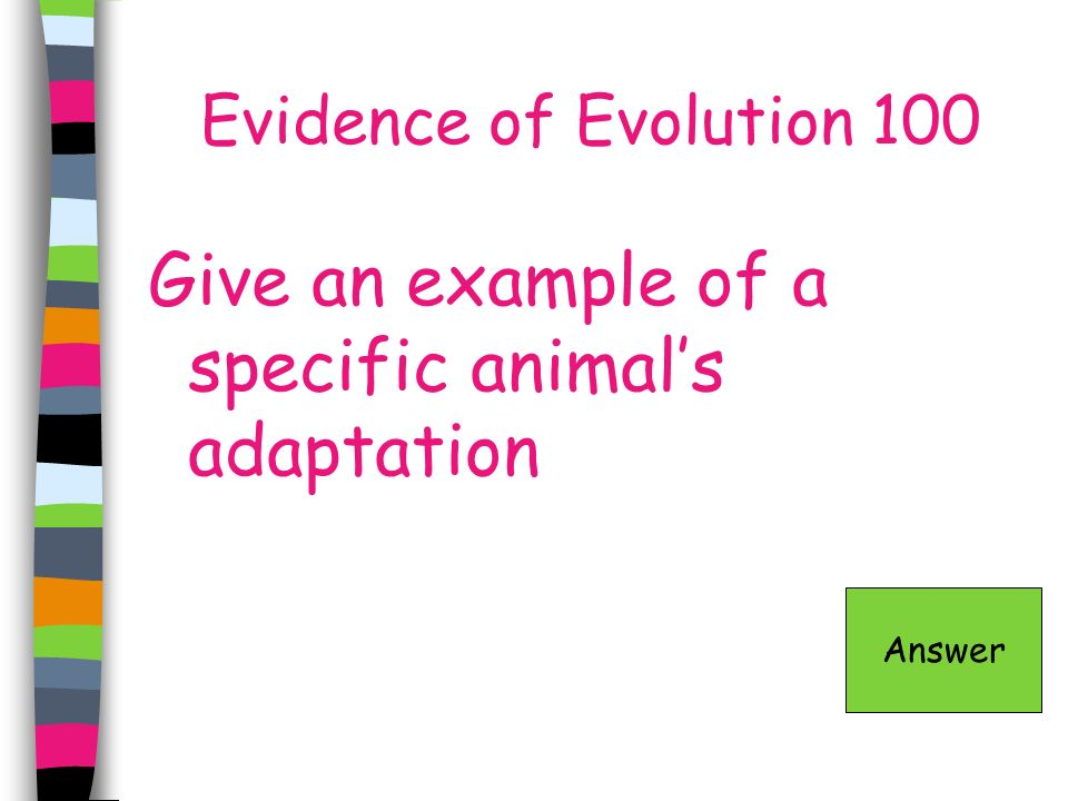 Evidence of Evolution 100 Give an example of a specific animals adaptation Answer