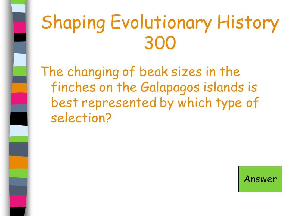 Shaping Evolutionary History 300 The changing of beak sizes in the finches on the Galapagos islands is best represented by which type of selection? An
