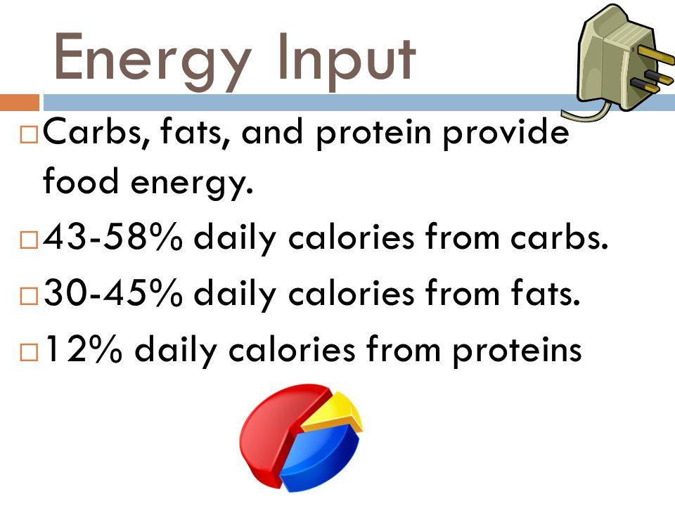 Energy Input Carbs, fats, and protein provide food energy. 43-58% daily calories from carbs. 30-45% daily calories from fats. 12% daily calories from