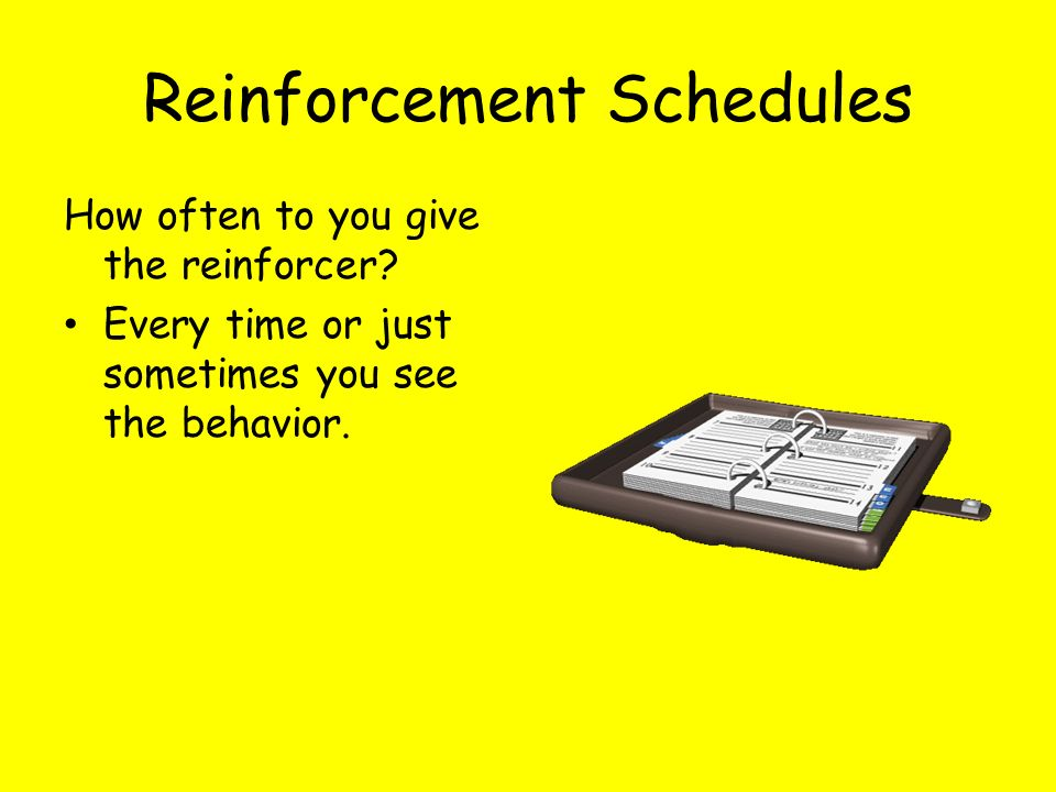 Reinforcement Schedules How often to you give the reinforcer? Every time or just sometimes you see the behavior.