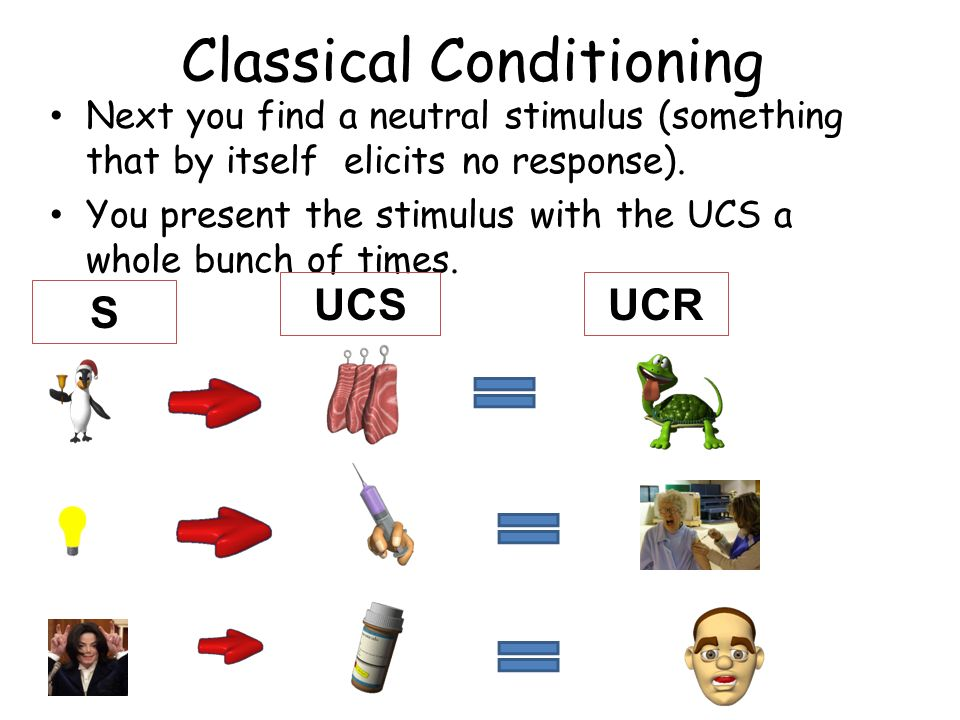 Classical Conditioning Next you find a neutral stimulus (something that by itself elicits no response). You present the stimulus with the UCS a whole
