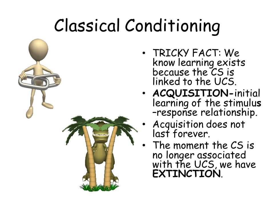 Classical Conditioning TRICKY FACT: We know learning exists because the CS is linked to the UCS. ACQUISITION-initial learning of the stimulus –respons