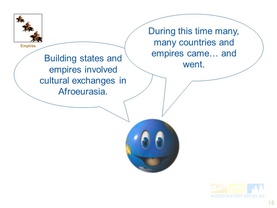 15 Empires Building states and empires involved cultural exchanges in Afroeurasia. During this time many, many countries and empires came… and went.