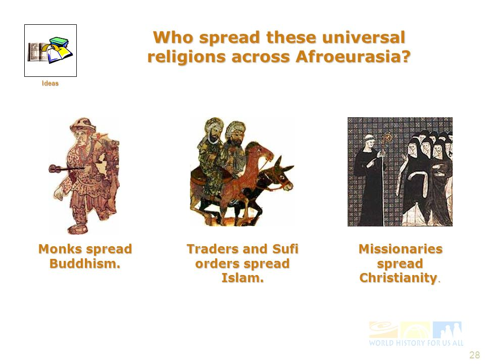 28 Who spread these universal religions across Afroeurasia? Monks spread Buddhism. Traders and Sufi orders spread Islam. Missionaries spread Christian
