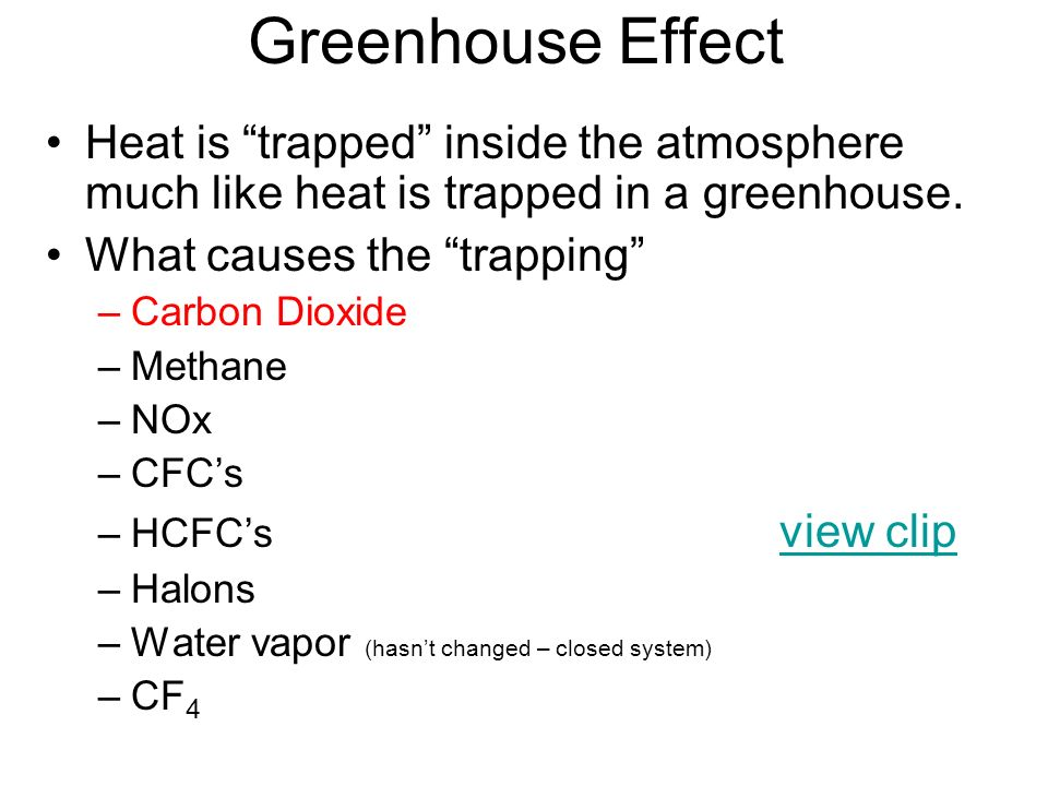 Greenhouse Effect Heat is trapped inside the atmosphere much like heat is trapped in a greenhouse. What causes the trapping –Carbon Dioxide –Methane –