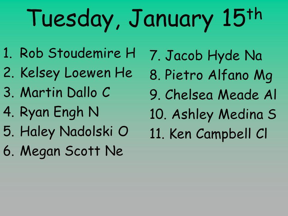 Tuesday, January 15 th 1.Rob Stoudemire H 2.Kelsey Loewen He 3.Martin Dallo C 4.Ryan Engh N 5.Haley Nadolski O 6.Megan Scott Ne 7.
