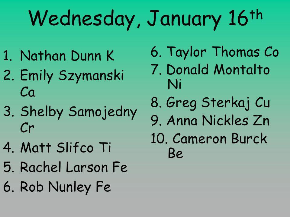 Wednesday, January 16 th 1.Nathan Dunn K 2.Emily Szymanski Ca 3.Shelby Samojedny Cr 4.Matt Slifco Ti 5.Rachel Larson Fe 6.Rob Nunley Fe 6.
