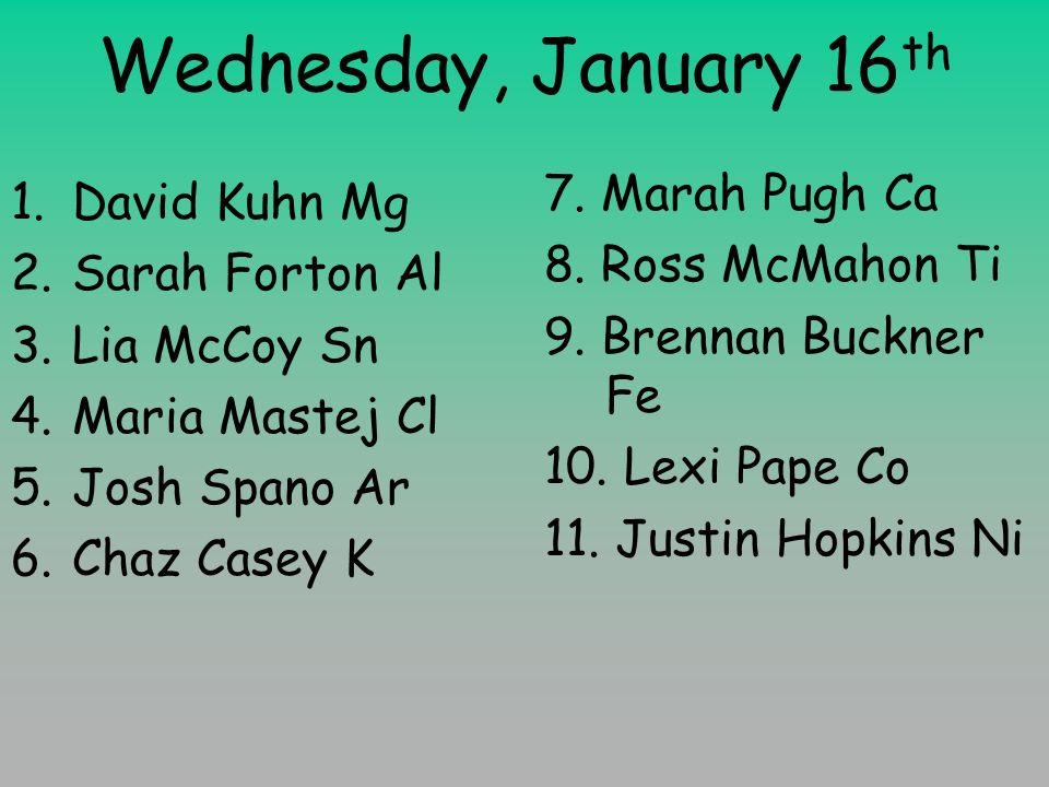 Wednesday, January 16 th 1.David Kuhn Mg 2.Sarah Forton Al 3.Lia McCoy Sn 4.Maria Mastej Cl 5.Josh Spano Ar 6.Chaz Casey K 7.