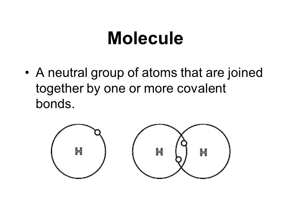 Molecule A neutral group of atoms that are joined together by one or more covalent bonds.