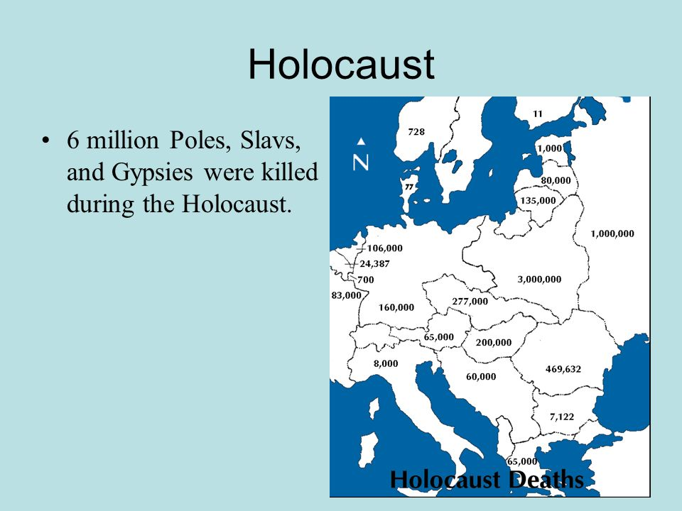 Holocaust 6 million Poles, Slavs, and Gypsies were killed during the Holocaust.