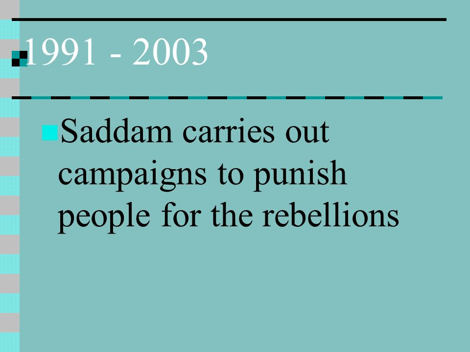 1991 - 2003 Saddam carries out campaigns to punish people for the rebellions