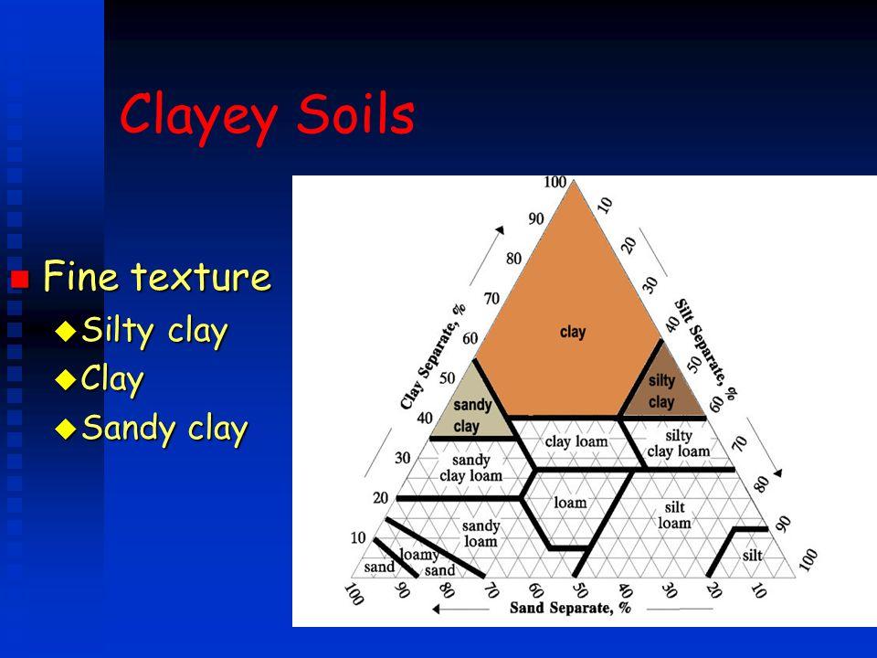 Clayey Soils n Fine texture u Silty clay u Clay u Sandy clay