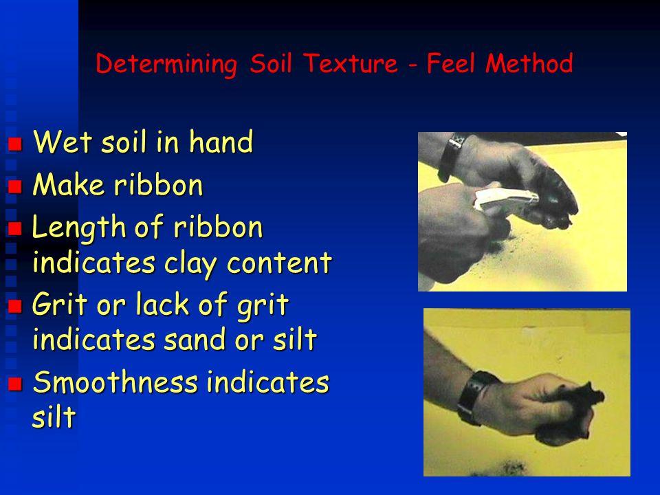 Determining Soil Texture - Feel Method n Wet soil in hand n Make ribbon n Length of ribbon indicates clay content n Grit or lack of grit indicates san