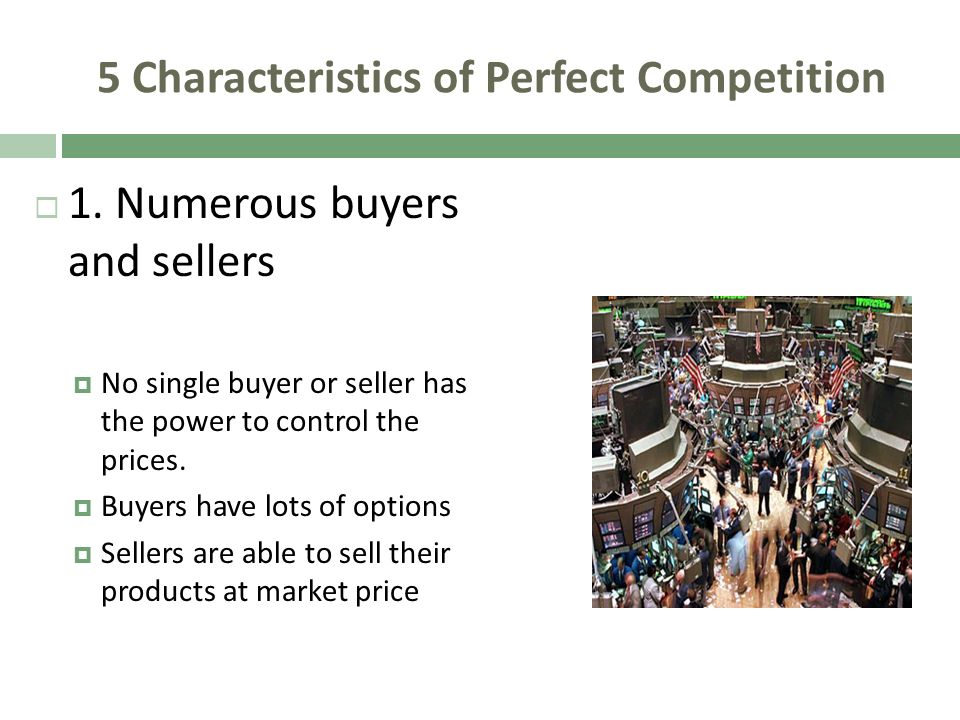 5 Characteristics of Perfect Competition 1. Numerous buyers and sellers No single buyer or seller has the power to control the prices. Buyers have lot