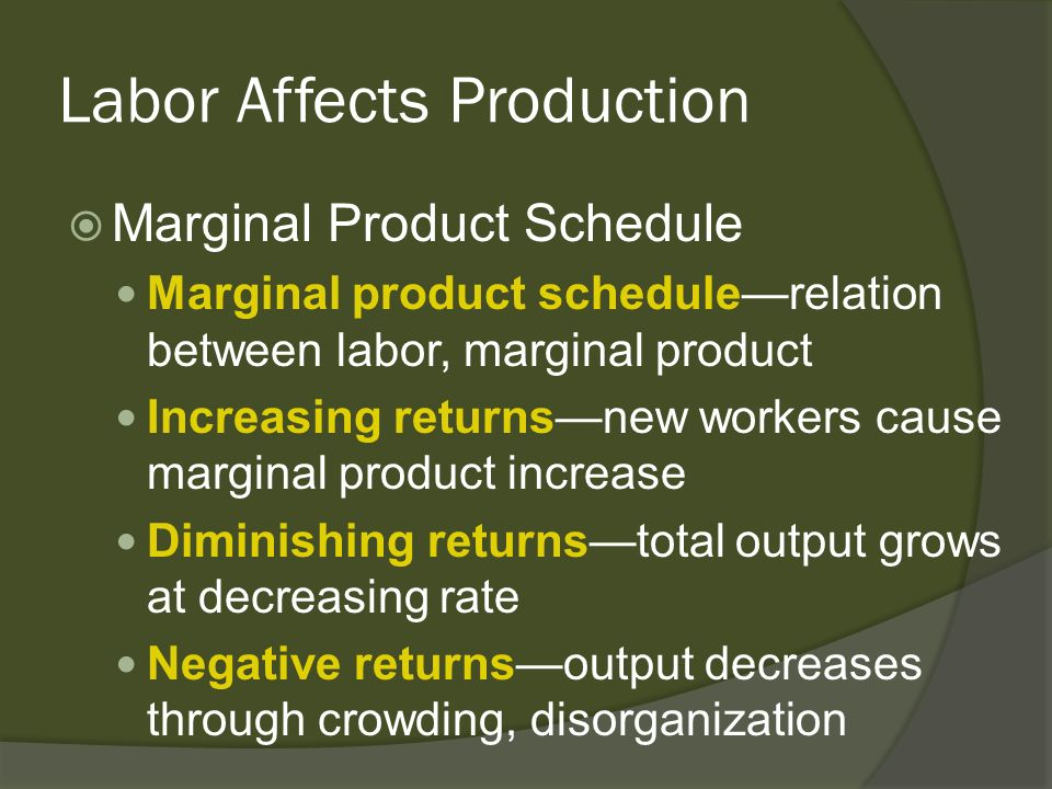 Labor Affects Production Marginal Product Schedule Marginal product schedulerelation between labor, marginal product Increasing returnsnew workers cau