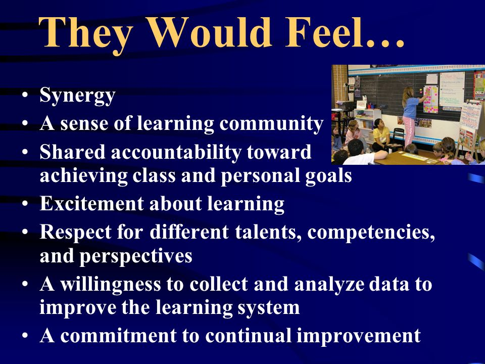 They Would Feel… Synergy A sense of learning community Shared accountability toward achieving class and personal goals Excitement about learning Respect for different talents, competencies, and perspectives A willingness to collect and analyze data to improve the learning system A commitment to continual improvement