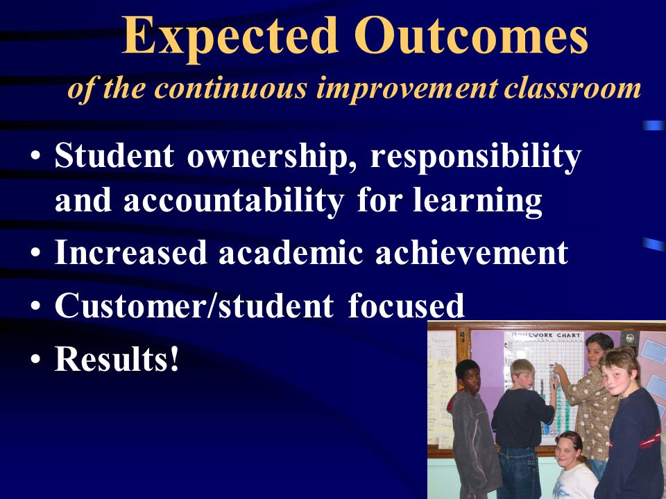 Expected Outcomes of the continuous improvement classroom Student ownership, responsibility and accountability for learning Increased academic achievement Customer/student focused Results!