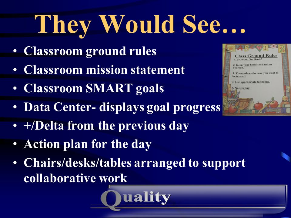 They Would See… Classroom ground rules Classroom mission statement Classroom SMART goals Data Center- displays goal progress +/Delta from the previous day Action plan for the day Chairs/desks/tables arranged to support collaborative work