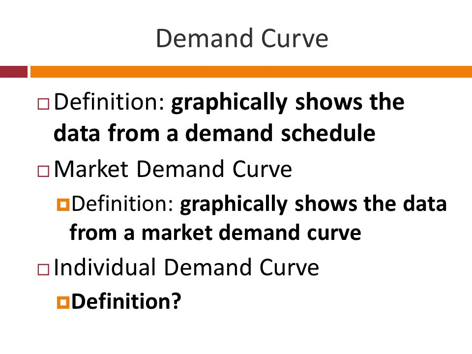 Demand Curve Definition: graphically shows the data from a demand schedule Market Demand Curve Definition: graphically shows the data from a market de