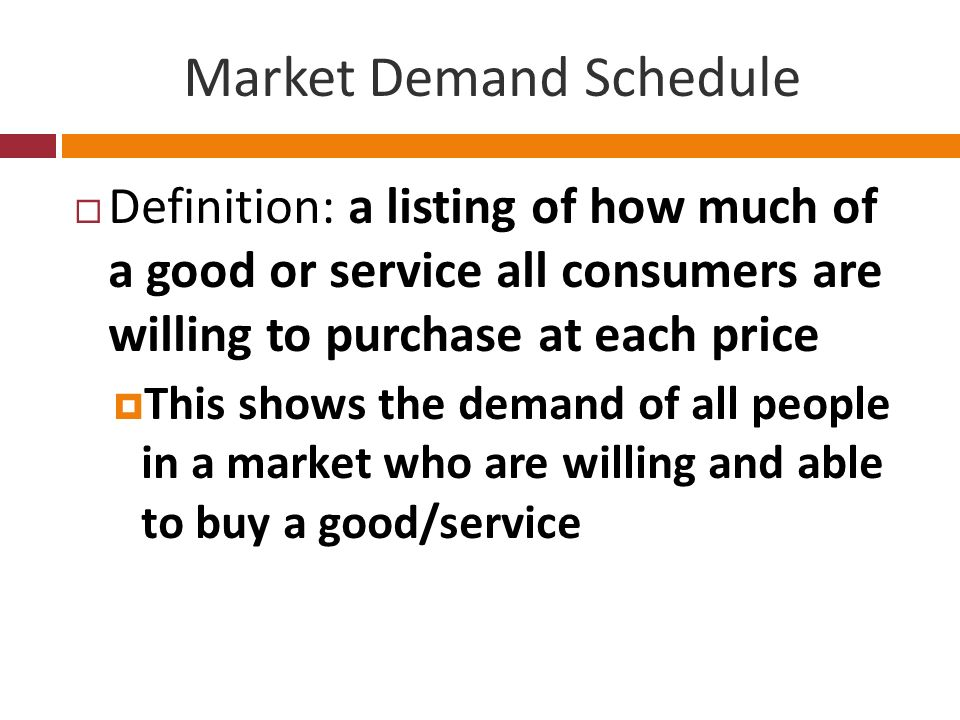 Market Demand Schedule Definition: a listing of how much of a good or service all consumers are willing to purchase at each price This shows the deman
