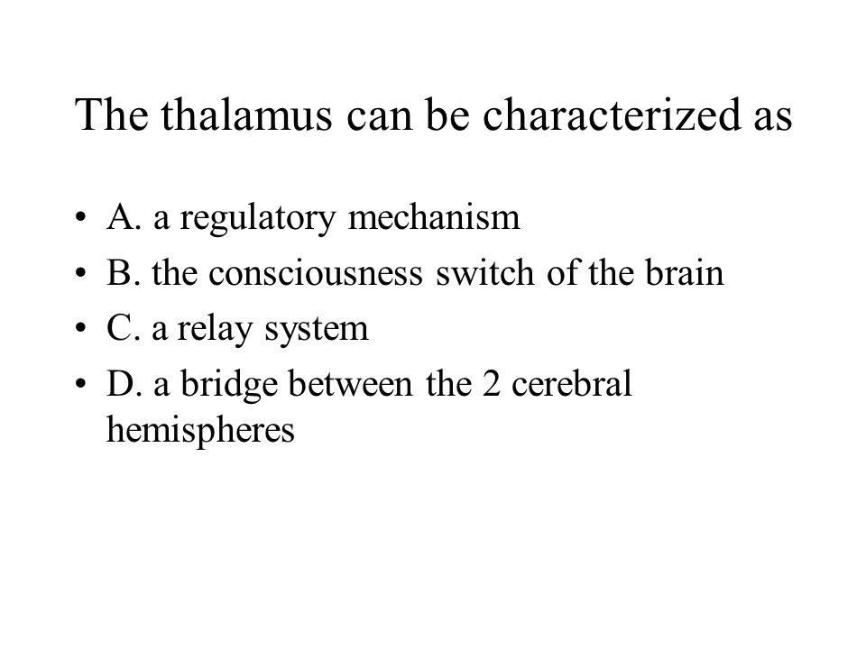 The thalamus can be characterized as A. a regulatory mechanism B. the consciousness switch of the brain C. a relay system D. a bridge between the 2 ce