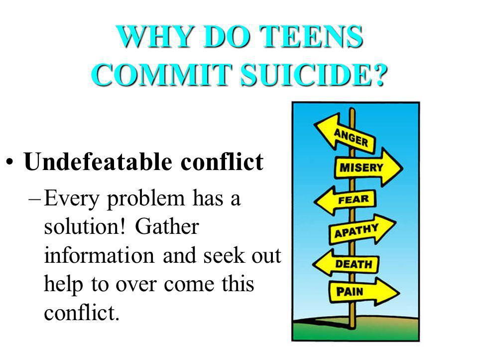 WHY DO TEENS COMMIT SUICIDE. Undefeatable conflict –Every problem has a solution.