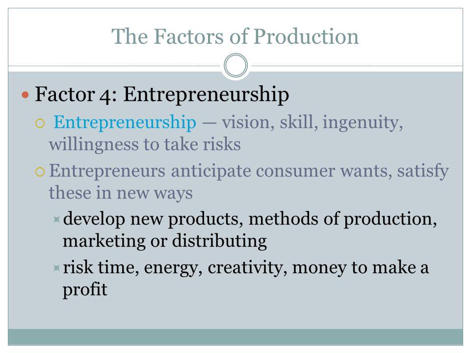 The Factors of Production Factor 4: Entrepreneurship Entrepreneurship vision, skill, ingenuity, willingness to take risks Entrepreneurs anticipate con