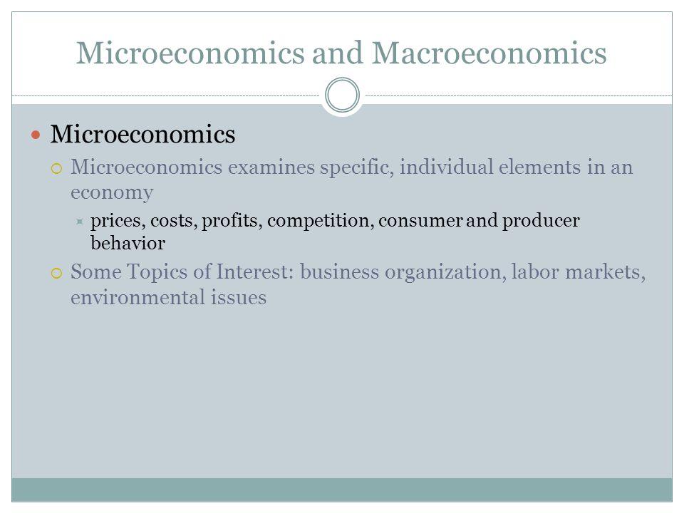 Microeconomics and Macroeconomics Microeconomics Microeconomics examines specific, individual elements in an economy prices, costs, profits, competiti