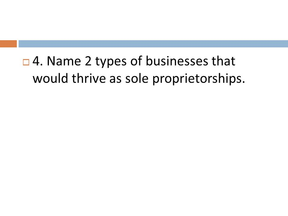 4. Name 2 types of businesses that would thrive as sole proprietorships.