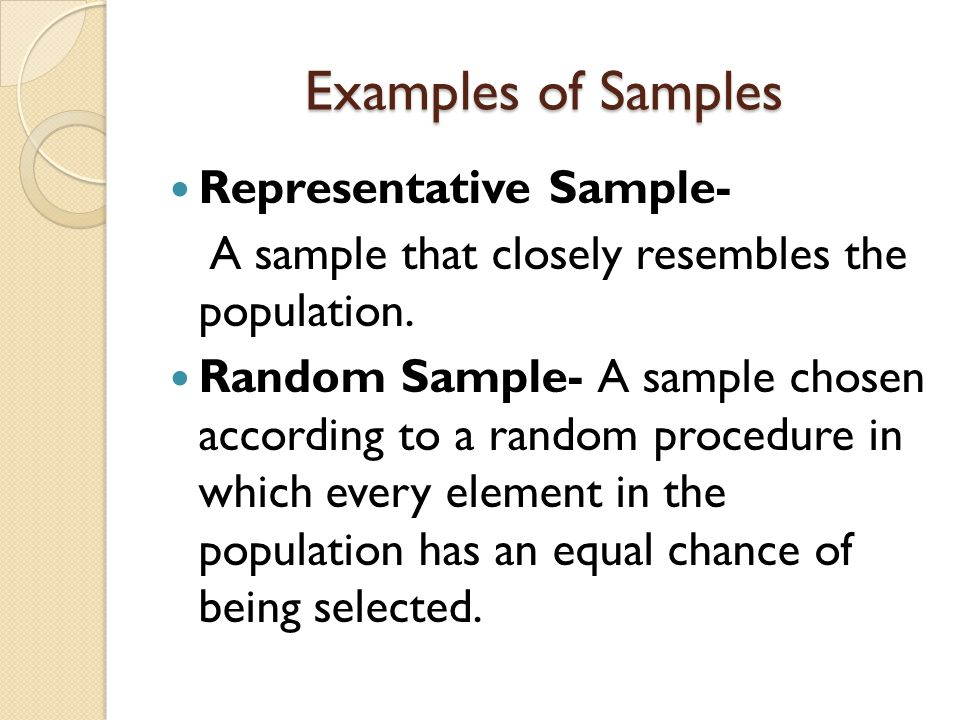 Examples of Samples Representative Sample- A sample that closely resembles the population.