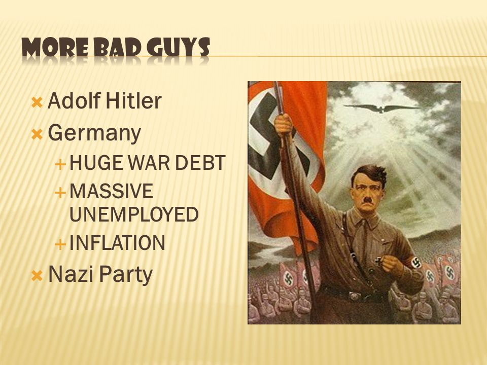 Adolf Hitler Germany HUGE WAR DEBT MASSIVE UNEMPLOYED INFLATION Nazi Party