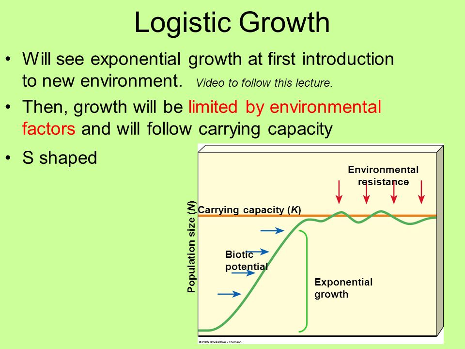Logistic Growth Will see exponential growth at first introduction to new environment. Video to follow this lecture. Then, growth will be limited by en