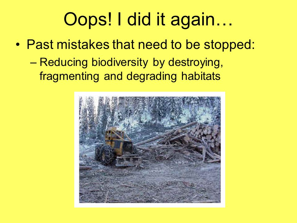 Oops! I did it again… Past mistakes that need to be stopped: –Reducing biodiversity by destroying, fragmenting and degrading habitats
