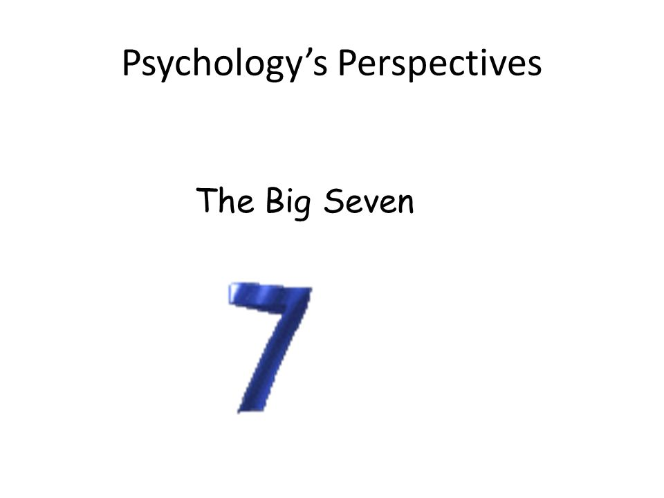 Psychologys Perspectives The Big Seven