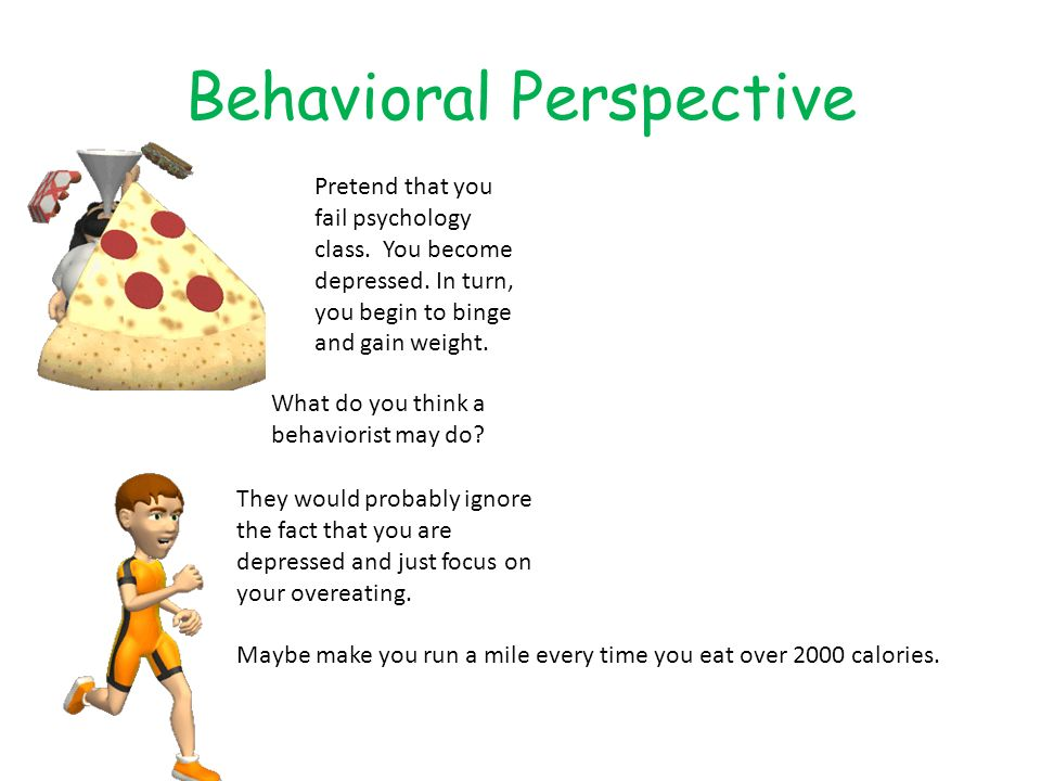 Behavioral Perspective Pretend that you fail psychology class. You become depressed. In turn, you begin to binge and gain weight. What do you think a