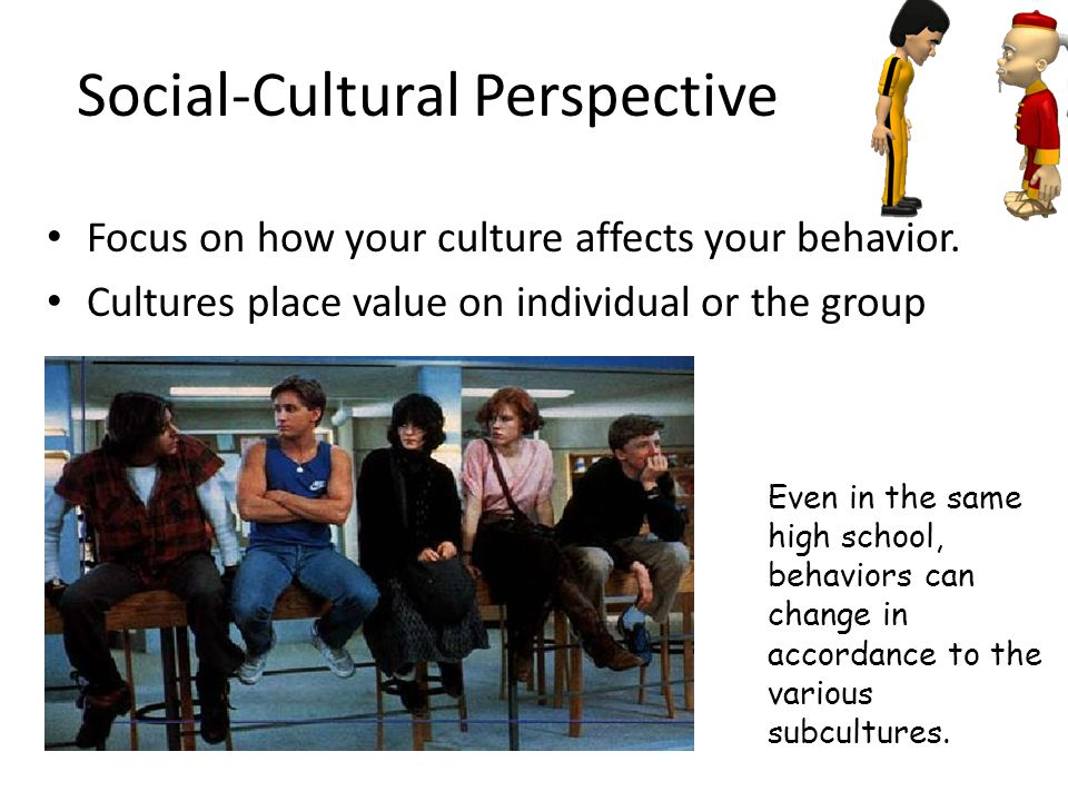 Social-Cultural Perspective Focus on how your culture affects your behavior. Cultures place value on individual or the group Even in the same high sch