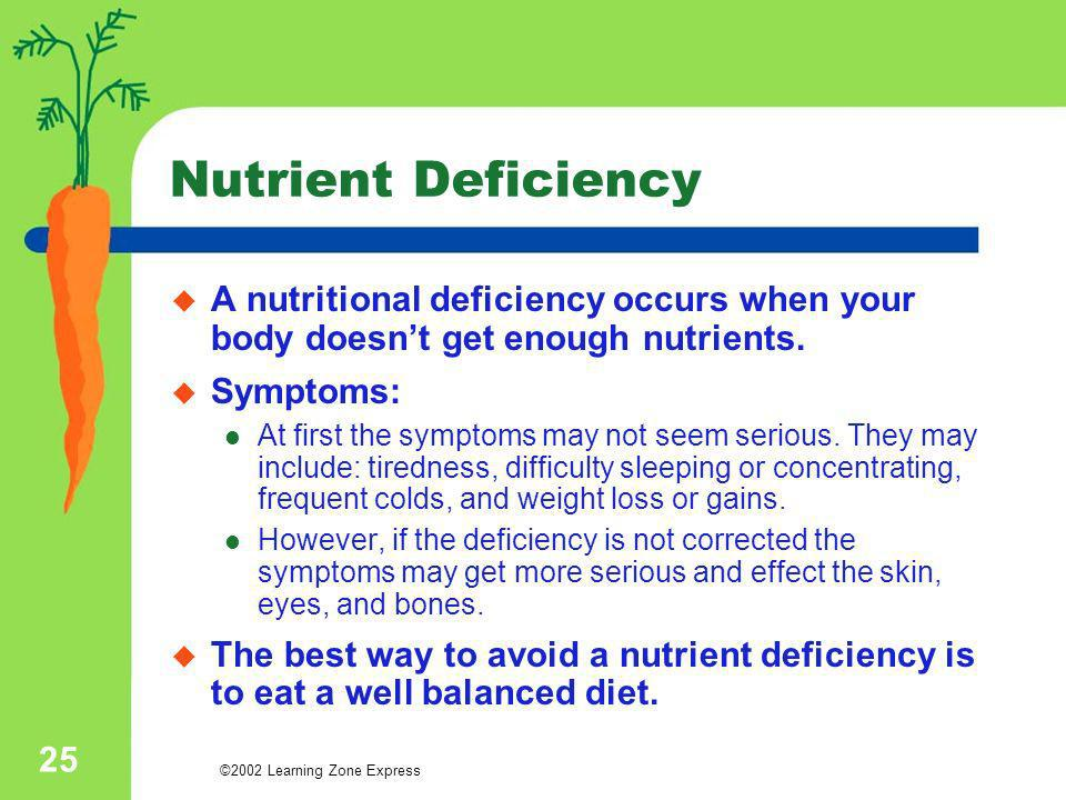 ©2002 Learning Zone Express 25 Nutrient Deficiency A nutritional deficiency occurs when your body doesnt get enough nutrients. Symptoms: At first the