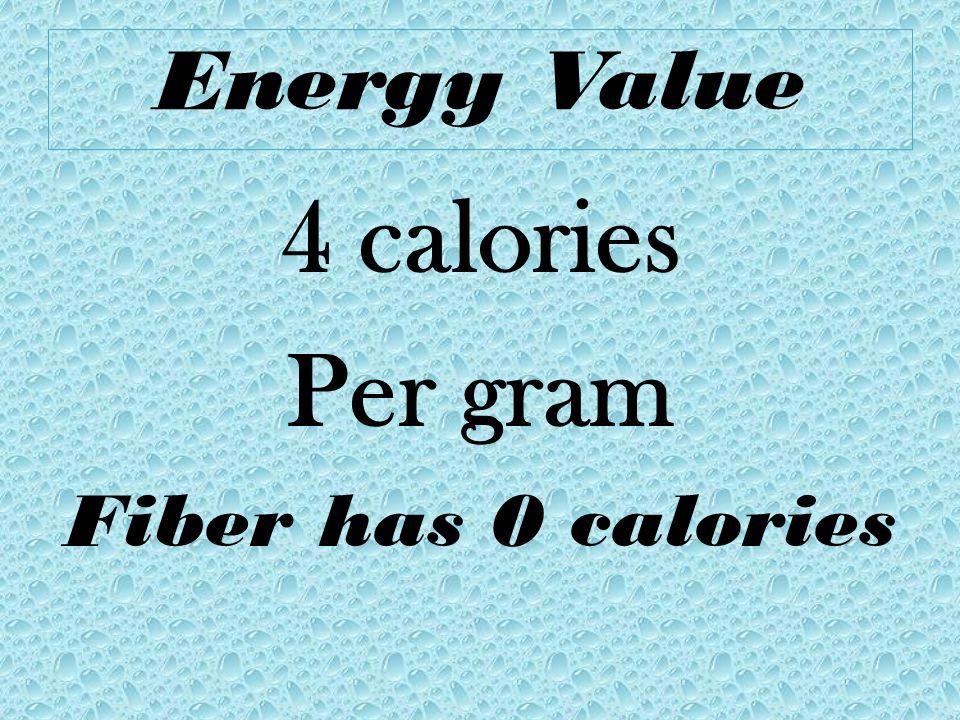 Energy Value 4 calories Per gram Fiber has 0 calories