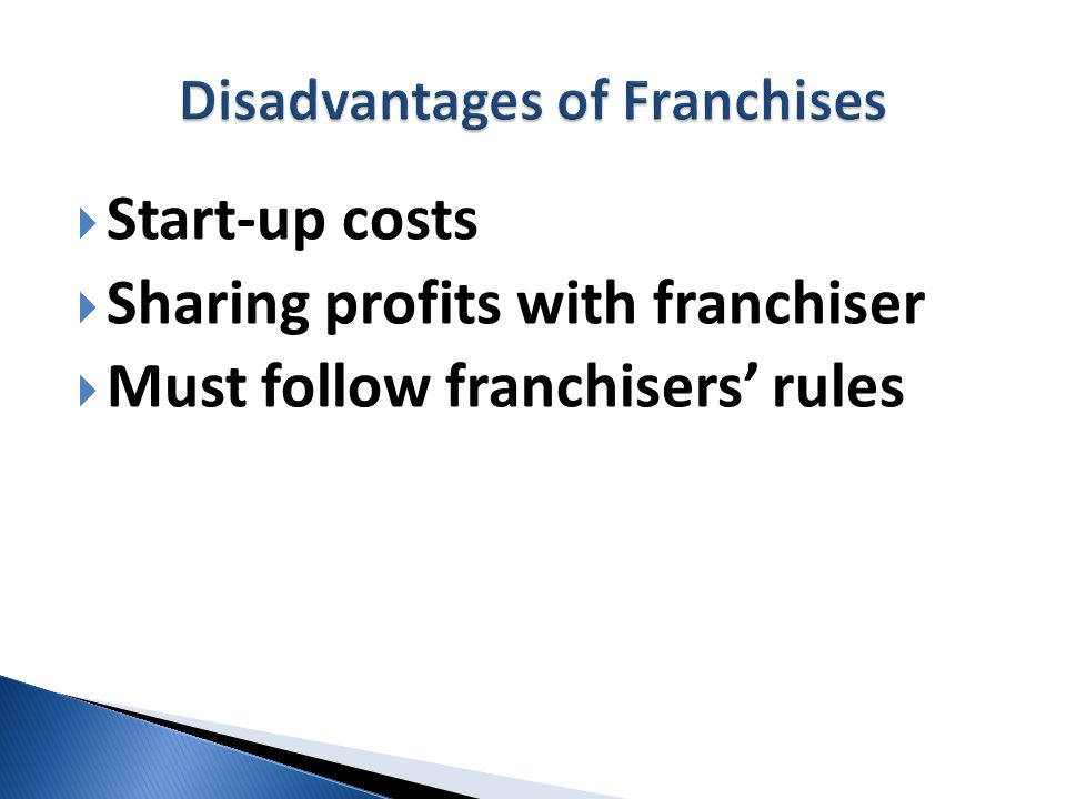 Start-up costs Sharing profits with franchiser Must follow franchisers rules