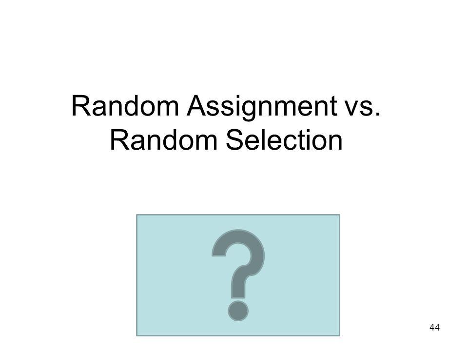 Random Assignment vs. Random Selection 44