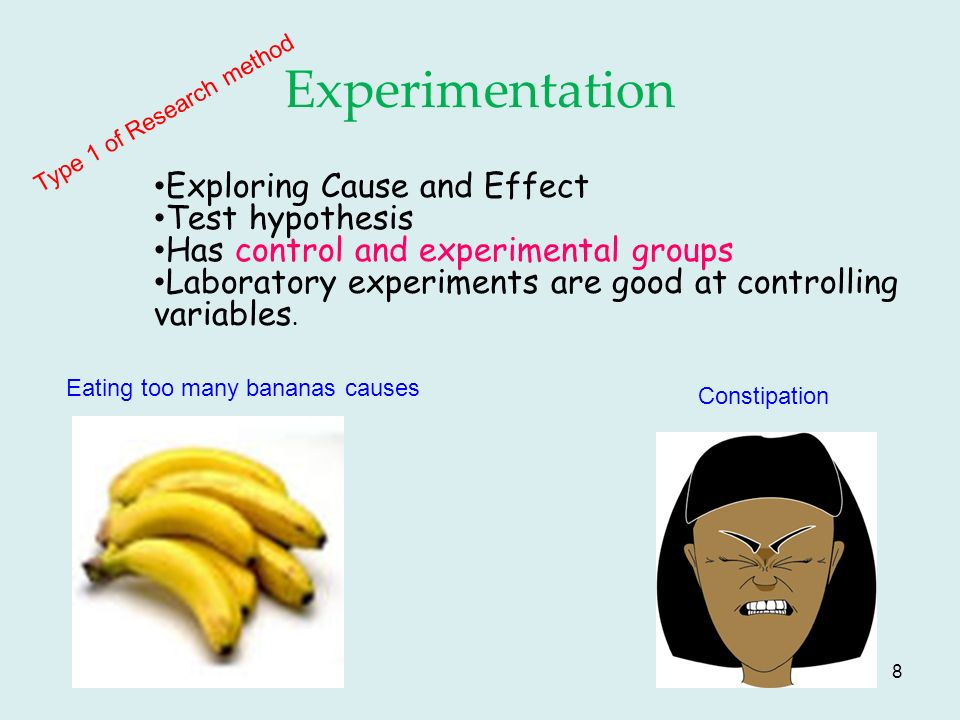 8 Experimentation Type 1 of Research method Exploring Cause and Effect Test hypothesis Has control and experimental groups Laboratory experiments are