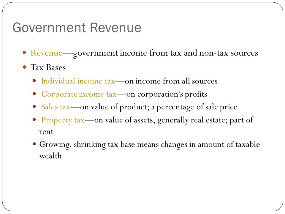 Tax Bases and Structures Tax Structures Proportional taxflat taxall taxpayers pay same percentage of income Progressive taxhigher income earners pay higher percentage of income (ability to pay) most closely linked to ability-to-pay principle Regressive taxlower income earners pay higher percentage of income examples: sales tax, property tax