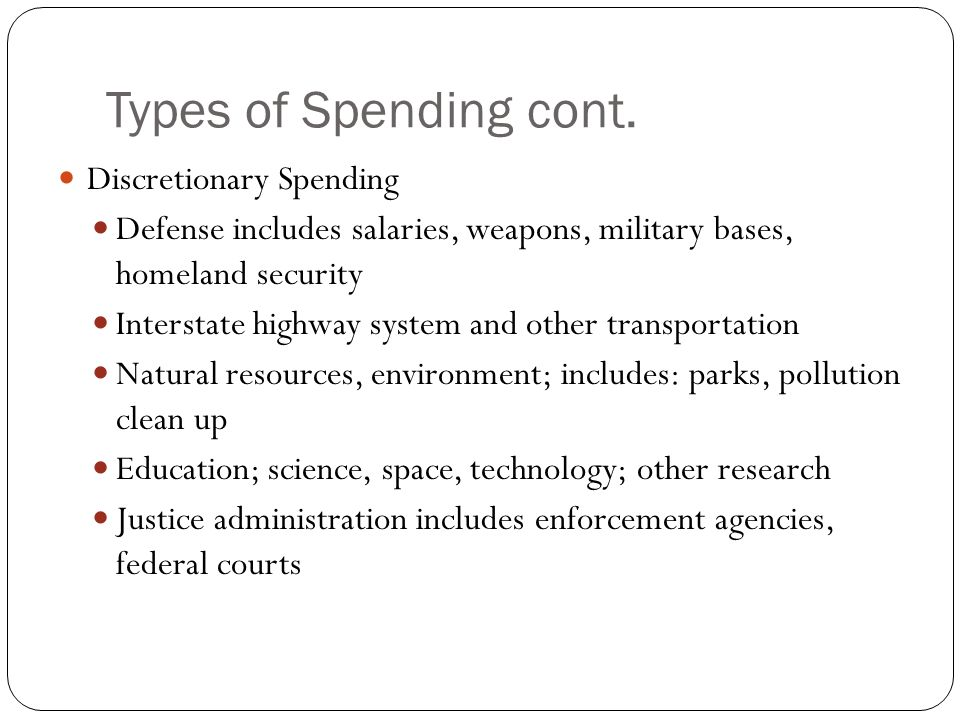 Types of Spending cont.