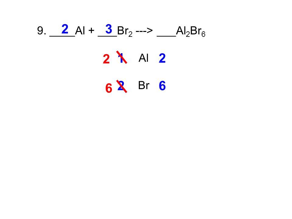 9. ____Al + ___Br 2 ---> ___Al 2 Br 6 Al Br 12 2 2 26 3 6