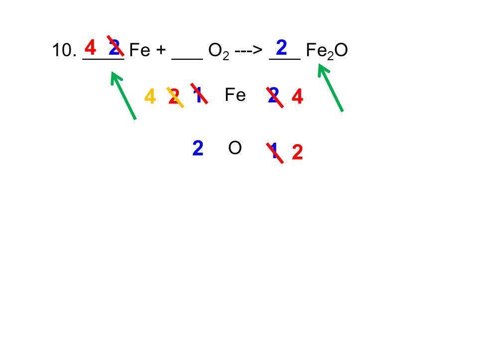 10. ____ Fe + ___ O 2 ---> ___ Fe 2 O Fe O 12 2 2 2 1 2 2 4 4 4